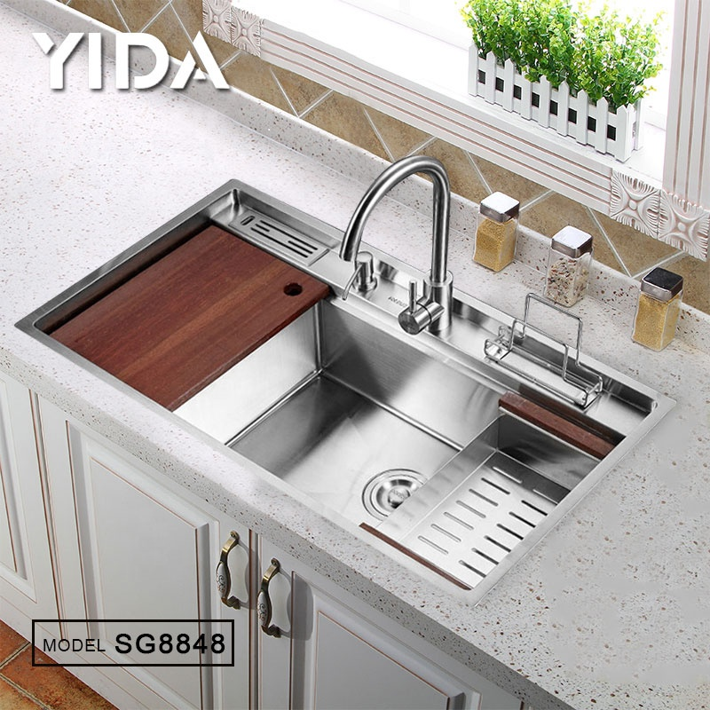 2019 Kitchenware polished stainless steel 304 kitchen sink single bowl handmade kitchen sink