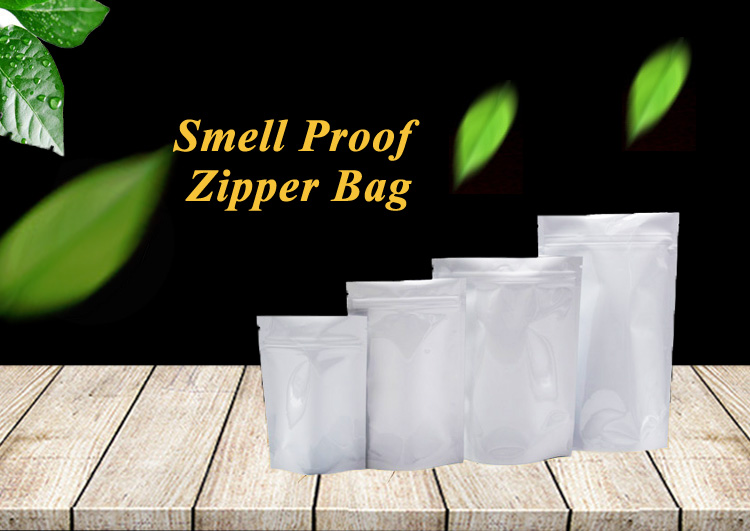 Food Grade Recyclable Black Mylar Packaging Medical Smell Proof Zipper Bag
