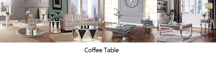 Contemporary Venetian Mirrored Glass floating crystal furniture Diamond coffee table