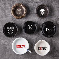 Custom logo printed ceramic ashtray, hotel porcelain round ashtray for office and home
