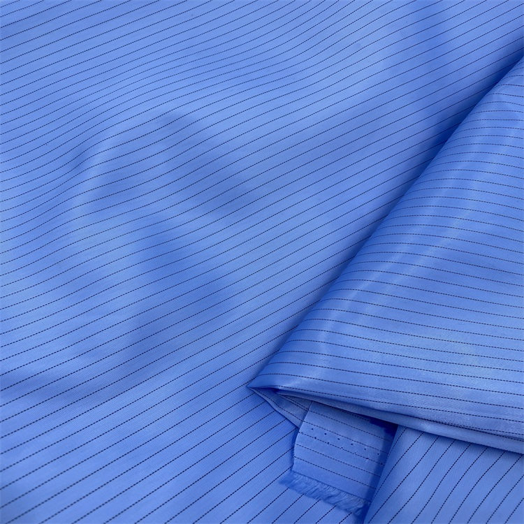 Chinese Manufacturer ESD Cleanroom Antistatic Polyester Stripe Fabric
