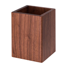 Natural Black Walnut Cube Office Wooden Pen Holder Desk Wood Pencil Holder Organizer