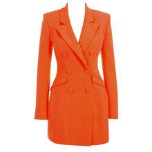 Осенне-весенние элегантные вечерние платья знаменитостей оранжевое платье с длинным рукавом и v-образным вырезом на пуговицах сексуальное ...(Китай)