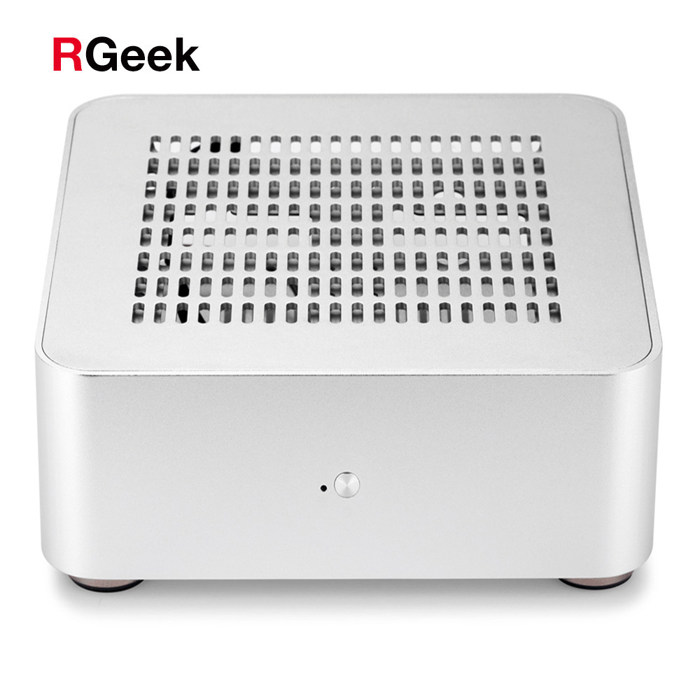 RGeek L80S Custom Fanless ITX Computer Case TOP Hole Thin Mini ITX PC Carrying Case Chassis Aluminum Mini-itx Case with pci slot