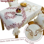 New design festival fancy tablecloth embroidered flower design table cloth