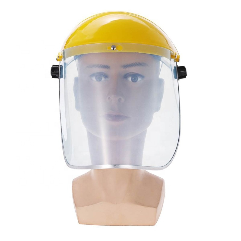 PVC Yellow Industrial Work protector facial safety helmet transparent with visor