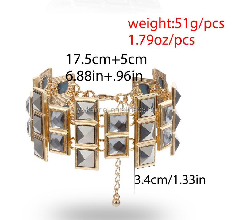 2020 Vintage Geometric irregular Square zircon Glass Crystal Bracelets Bangles Charm Bracelets Wrist Chain Women Jewelry Gifts