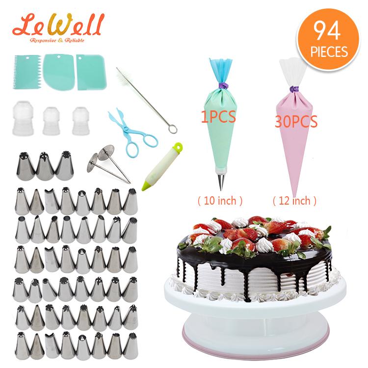 Lewell hızlı teslimat çevre dostu kek dekorasyon boru buzlanma İpuçları set fondan araçları buzlanma pürüzsüz