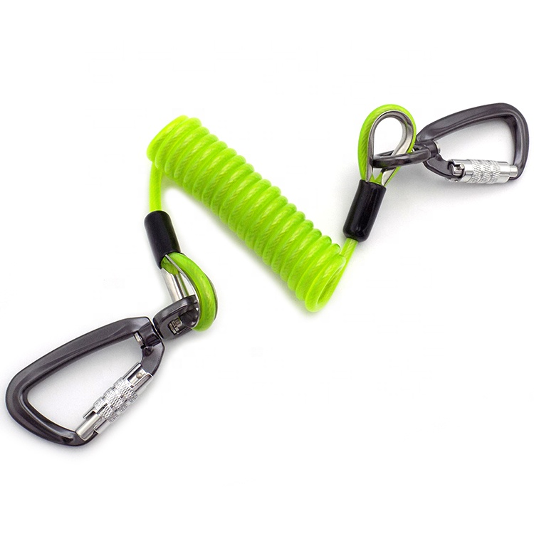 High Quality Coil Spring Tool Lanyard With Double Hook
