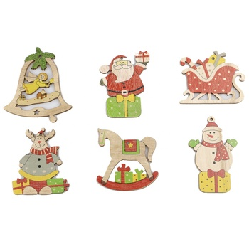 Multi Vintage Christmas Wooden Pendants Ornaments DIY Christmas Tree Ornaments Hanging Gifts Christmas Decorations