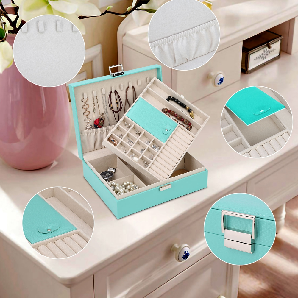 Jewelry Box Organizer, Travel Jewelry Storage Case Necklace Holders Display Tray Storage Case