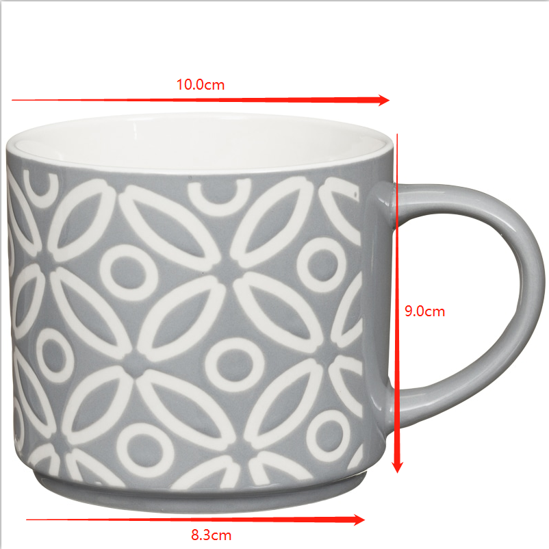 Customized design handmade stackable ceramic coffee mug printing cup sets hot sale