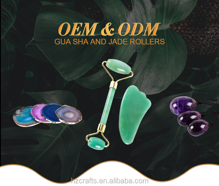 Crystal healing oem logo box for natural jade roller set,rose quartz jade roller gua sha set with box