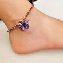 Женские креативные цветной в форме бабочки босиком крючком сандалии ног шарма ювелирных изделий пляжные цирконами, для девушек и женщин(Китай)