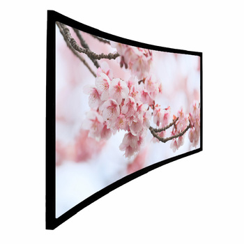 "Ultra Wide Best Quality 120"" 4:3 4K Curved Fixed Frame Projection Screen - Aluminum with black velvet"