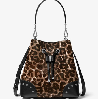 MK Latest design PU Leather Leopard Print Rivet Women bucket Handbag
