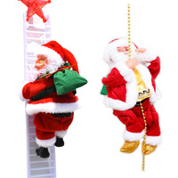 Christmas Gift Battery Operated Santa Claus Climbing with Rope Ladder Play Musical Moving Plush Doll Toy