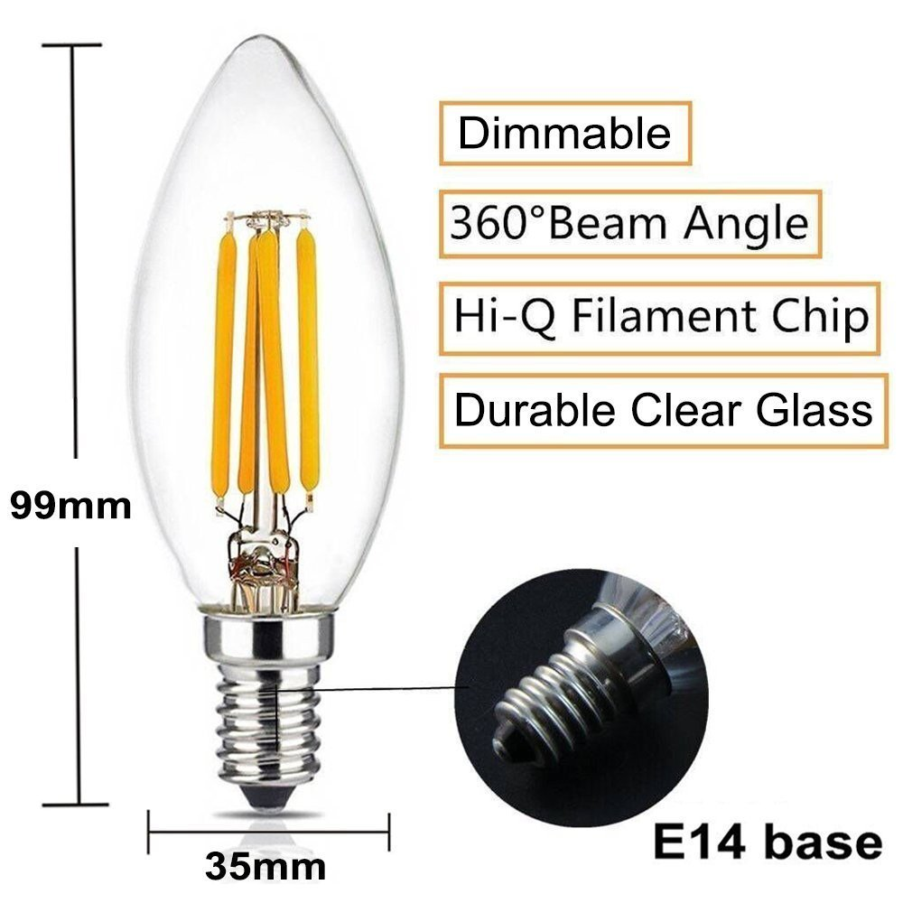 BRIMAX 4W to replace 25w 40w candelabra base bulb dimmable E14 led flame type light bulbs