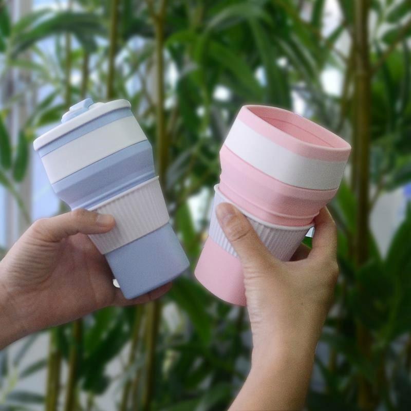2019 Produk Baru Folding Portable Minum Shake Silikon Dilipat Cangkir Kopi dengan Custom Logo
