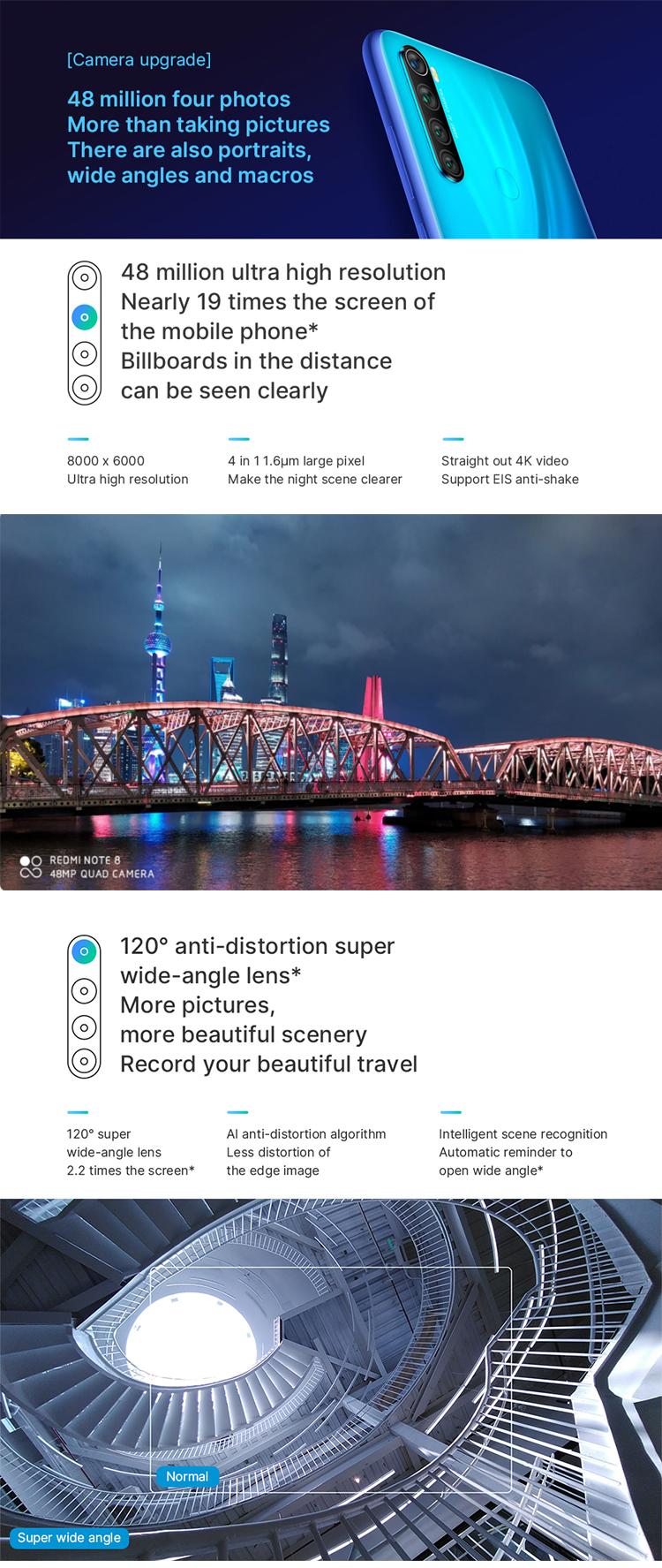 """Prezzo basso Xiaomi Redmi Nota 8 Snapdragon 665 Octa Core 6.3 """"FHD + 48MP 4000mASmartphone 6GB di RAM 64GB di ROM 4g Del Telefono Mobile"""