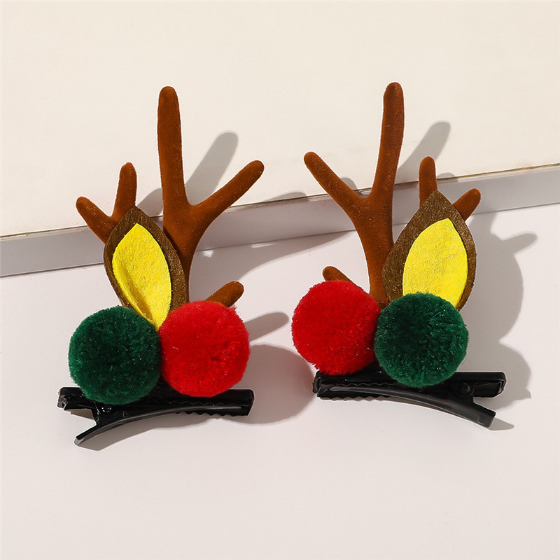 Christmas antler hair clips cute red pompom children's hairpins popular