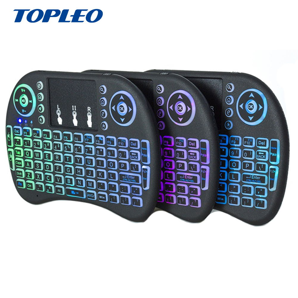 Factory Cheapest price I8 Multi Language BT 2.4G Wireless mini Keyboard Rainbow Colorful Backlit Type фото