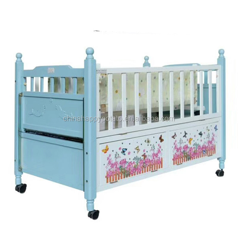 Wholesale Multifunctional Solid Pine Wooden Safety New Born Baby Bed