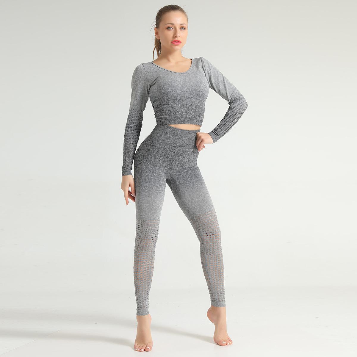 2020 Seamless Gym Leggings Sets High Waist Fitness Clothing Women Embre Yoga Sets 7