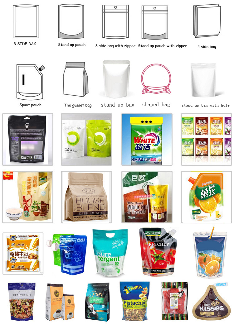 Multi-function Automatic Premade Stand Up Zipper Pouch Bag Doypack Packing Machine
