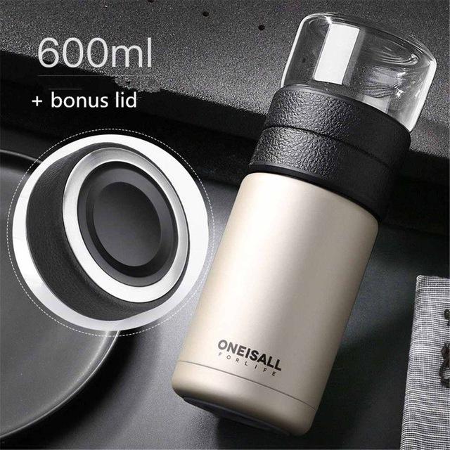 570 мл Термос, чашка из нержавеющей стали, вакуумная колба, бутылка для тепловой воды, Чайный фильтр, разделительная стеклянная кружка для пут...(Китай)