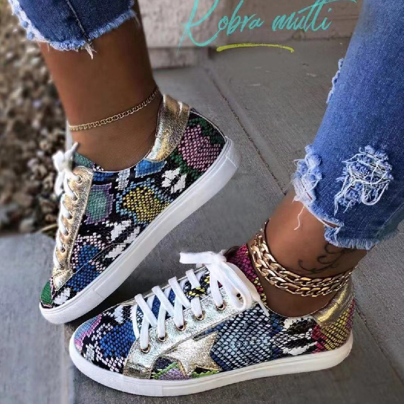 Wholesale New Arrival Snake Print Fashion Sport Running Sneaker Casual Flat Pu Leather Shoes Women