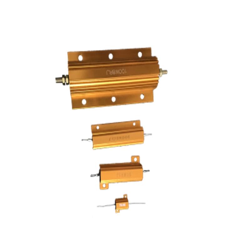 RX24-500W Resistor Rem Aluminium Emas Dinamis Resistor Rem Rumah Aluminum Memiliki Wadah Resistor Luka Kawat