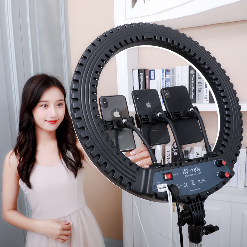 2020 Amazon 18inch Dimmable Brightness Bicolor 3200K-5600K Led Ring Light with Stand, phone holder ring light^