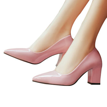 High Quality PU Leather Pointed Toe Middle Heels Women Pump Office Shoes