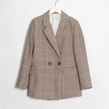 Женский классический блейзер в клетку Wixra, двубортный офисный винтажный пиджак с длинным рукавом, одежда для весны и осени(Китай)