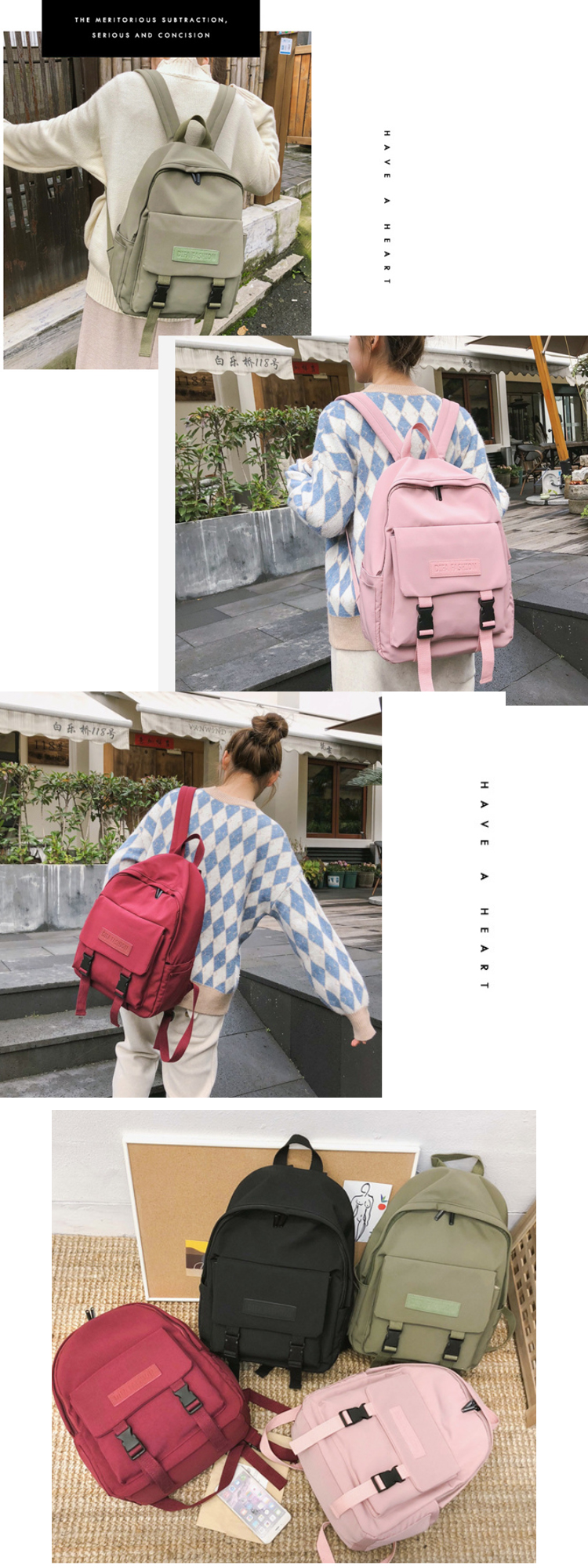 Osgoodway2 New Casual Women Backpack Solid Color Girls College Backpack Book Bags for High School