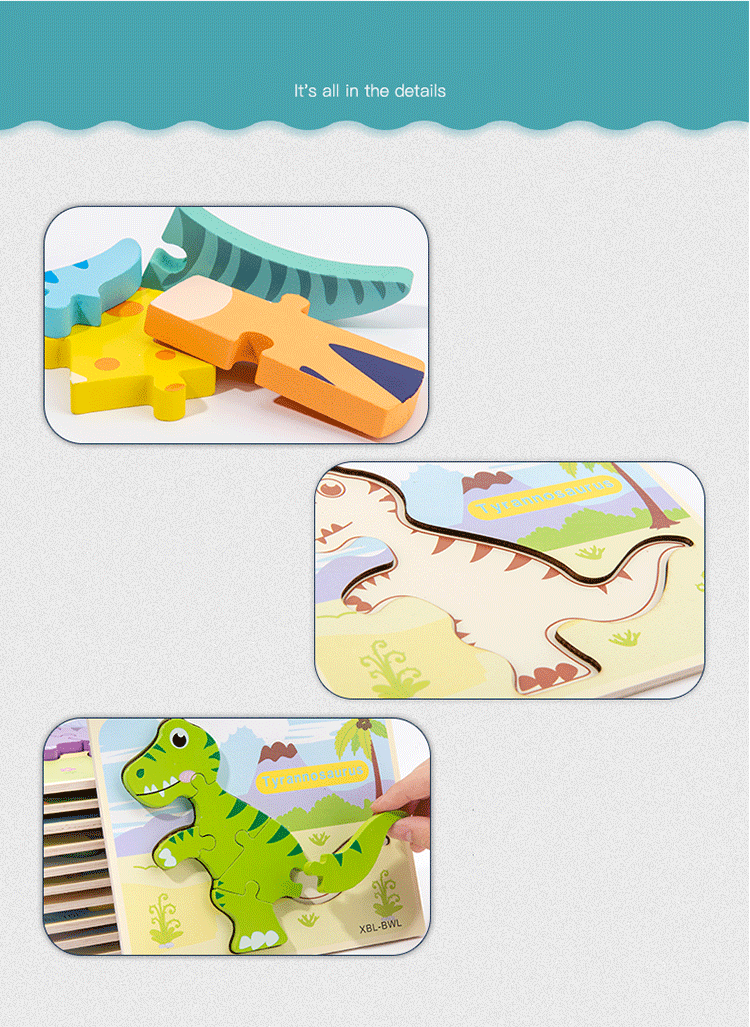 Amazon Hot Selling New 3D wooden jigsaw puzzle Toys Wholesale Customized Animals Children Preschool Educational Toy