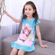 Платье Анны и Эльзы ночная рубашка для девочек Летняя ночная рубашка с рисунком детская одежда Пижама с короткими рукавами детская одежда д...(Китай)