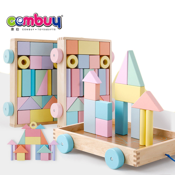 Macarons pull cart toy building wooden baby blocks