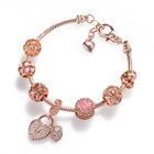 VRIUA Brand Rose Gold Love Lock Charm Bracelets & Bangles for Women Girls Murano Crystal Beads Fit Pan Bracelets DIY Jewelry