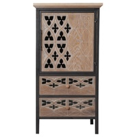 INNOVAHOME antique style country classic ructic carved hollow accent cabinet organizer furniture wooden cabinet with metal frame