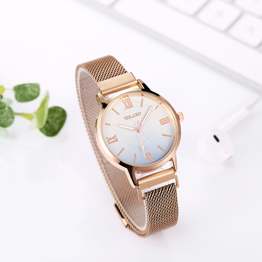 Luxury Classic Mesh Belt Watches Rose Gold Quartz Watch Relogio Masculino