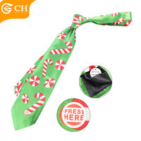 Custom Colorful Light Green Funny Christmas Led Polyester Tie For Kid Children