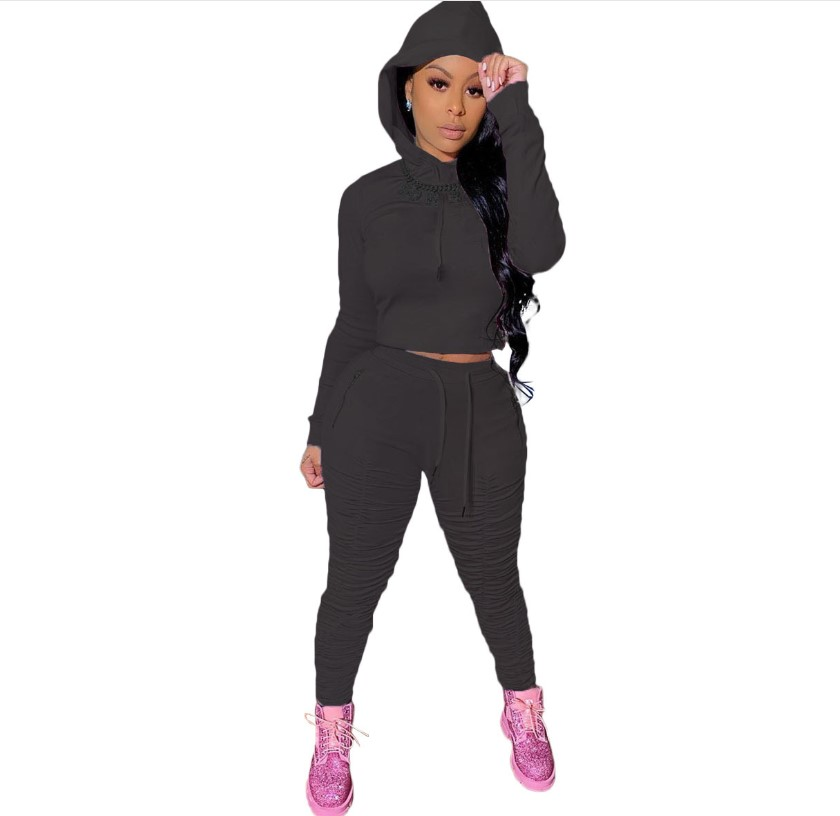 2021 spring sweater fabric European women's wholesale 2 piece 7colors sports pleated pants Hoodie two piece set