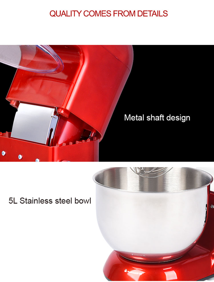 7L Classic Stand Mixer Kitchen Use1300W Dough Mixer Machine Chromed Decoration