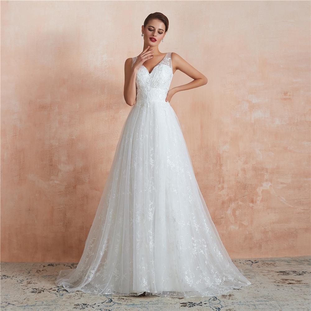 2020 Vestido De Renda Lace Wedding Dress Open Back A Line Bridal Gowns cheap sweetheart Lace wedding dress Bridal Gowns