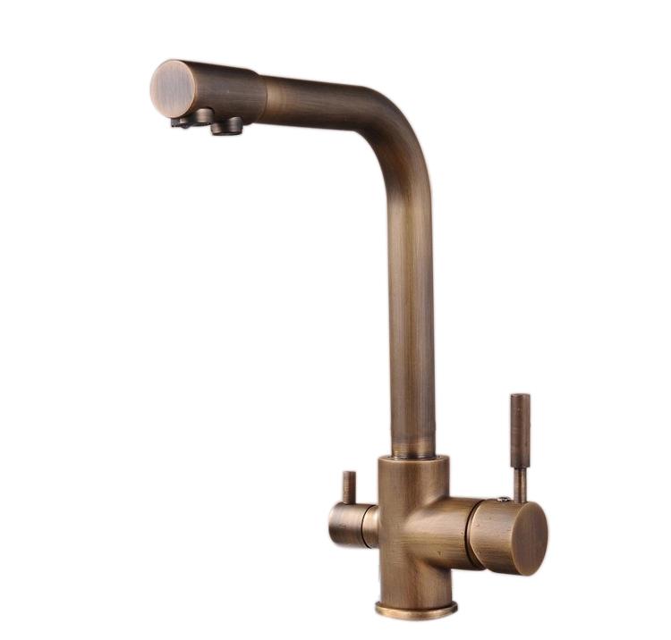 アンティーク起毛 3 方法浄水器蛇口キッチン蛇口真鍮キッチンシンクミキサーデュアルタップ