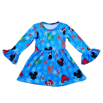 2019 winter Kids Boutique Baby Girl Dress cute cartoon milk silk dress for infant baby pretty ruffle dress new pattern frocks