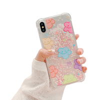 Cute Cartoon 3D Happy Bear Glitter Dynamic Quicksand Shiny Clear Soft TPU Phone Case for iPhone X 6 6S 7S Accessories