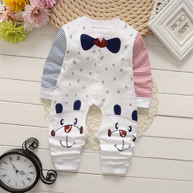 Infant cotton <strong>baby</strong> long-sleeved <strong>jumpsuit</strong> newborn clothes spring and autumn pajamas spring and summer <strong>jumpsuit</strong>